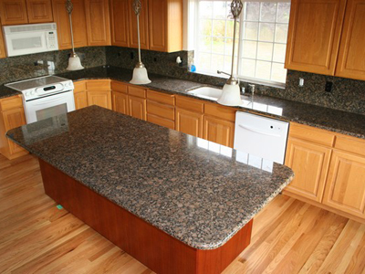 Tropical Brown Granite Kitchen Design Ideas